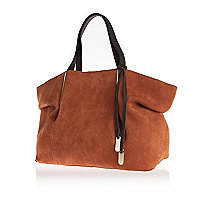 Tan brown suede pinched side tote bag