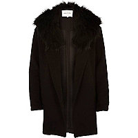 Black textured relaxed faux fur jacket