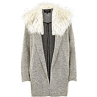Cream textured relaxed faux fur jacket