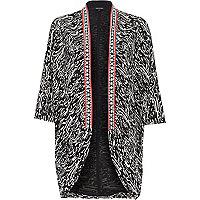 Black printed embellished kimono