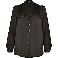 Khaki utility blouse