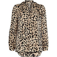 Brown animal print utility blouse