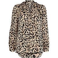 Brown animal print utility blouse