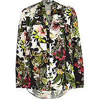 White tropical print utility blouse