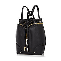 Black leather-look drawstring rucksack