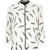 Beige embellished feather print bomber jacket