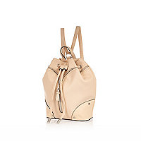 Beige leather-look drawstring rucksack