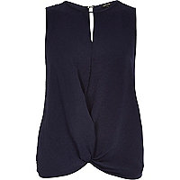 Navy sleeveless knot front tank top