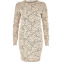 Pink floral print jacquard bodycon dress