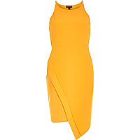 Orange crepe bodycon wrap skirt dress