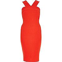 Red wide strap bodycon dress