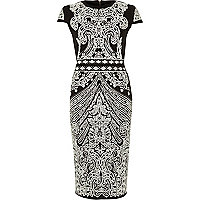 Black foil print scuba midi column dress