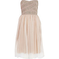 Pink embellished tulle skirt prom dress