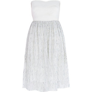 White bandeau pleated tulle dress