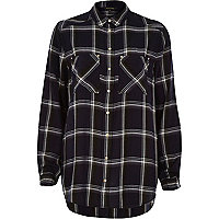 Navy check boyfriend patch pocket shirt