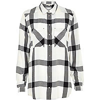 Cream check placement pocket oversized shirt