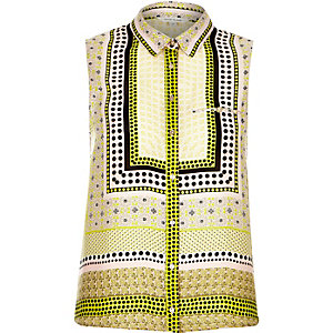 Yellow scarf print sleeveless shirt