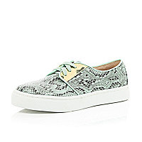 Turquoise snake print lace up trainers