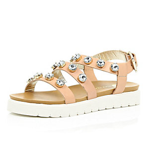 Nude leather embellished chunky sandals