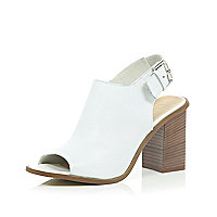 White leather block heel slingbacks