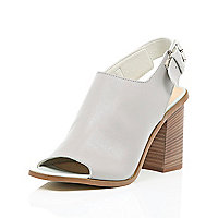 Grey leather block heel slingbacks