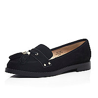 Black leather smart flat tassel loafers