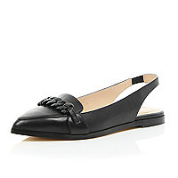 Black leather chain front sling back shoes