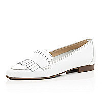 White leather tassel loafers