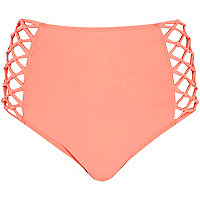 Orange high waisted bikini bottoms