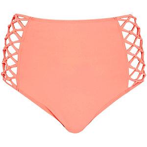 Orange high waisted bikini bottoms