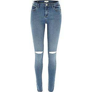 Mid wash ripped knee Amelie jeans