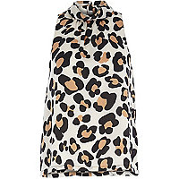 Brown leopard print sleeveless roll neck top