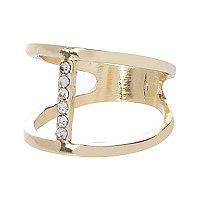 Gold tone two row embellished finger top ring