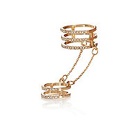 Gold tone diamante chain ring