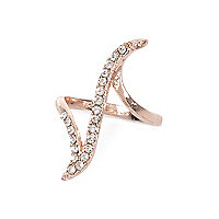 Rose gold tone crystal curve ring