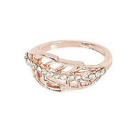Rose gold tone arrow ring