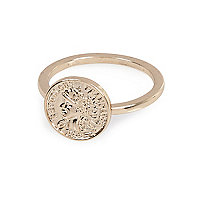 Gold tone delicate coin ring