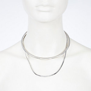 Silver tone short layered torque necklace