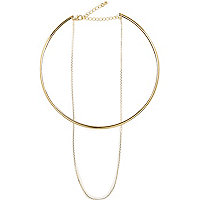 Gold tone chain two layer necklace