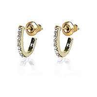 Gold tone mini diamante hoop earrings