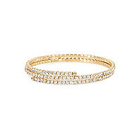 Gold tone diamante twist cuff bracelet