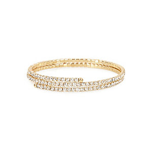 Gold tone diamante twist cuff bracelet