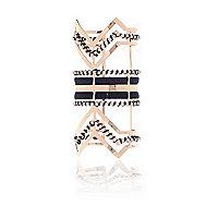 Gold tone elongated woven cuff