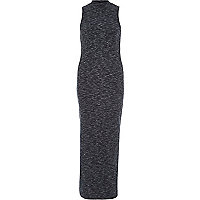 Grey space dye sleeveless turtle neck dress