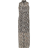 White animal print maxi shirt dress