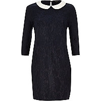 Navy lace contrast collar shift dress