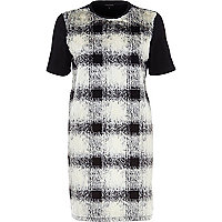 Black checked fur front t-shirt dress