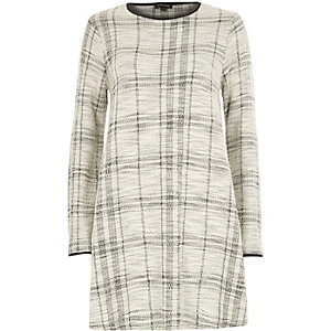 White check boucle swing dress
