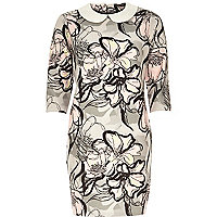 Grey floral jacquard shift dress