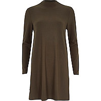 Khaki long sleeve textured swing dress